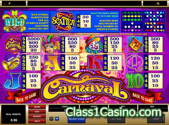 เกมส์สล็อต Carnaval อัตราจ่ายเงิน